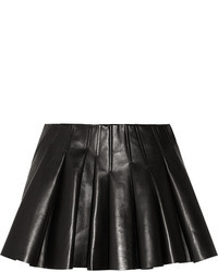 Черная кожаная мини-юбка со складками