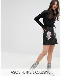 Женская черная кожаная мини-юбка с вышивкой от Asos