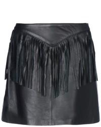Женская черная кожаная мини-юбка c бахромой