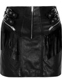 Черная кожаная мини-юбка c бахромой от Saint Laurent