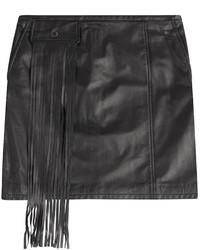 Женская черная кожаная мини-юбка c бахромой от Tamara Mellon
