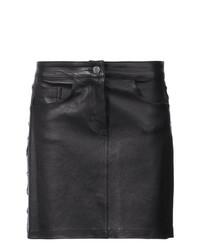 Черная кожаная мини-юбка от Amiri