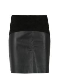 Черная кожаная мини-юбка от Egrey