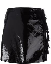 Женская черная кожаная мини-юбка от Kenzo