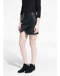 Женская черная кожаная мини-юбка от Mango Outlet