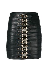 Черная кожаная мини-юбка от Manokhi