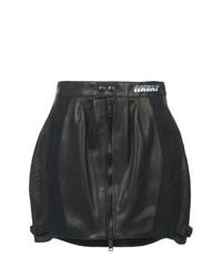 Черная кожаная мини-юбка от Unravel Project