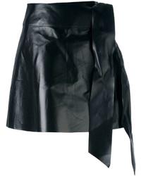 Черная кожаная мини-юбка от Valentino