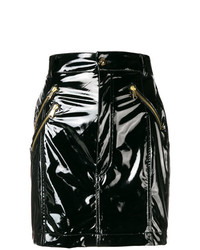 Черная кожаная мини-юбка от Versace Jeans