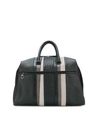 Черная кожаная плетеная дорожная сумка