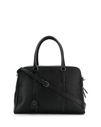 Мужская черная кожаная плетеная дорожная сумка от Ermenegildo Zegna