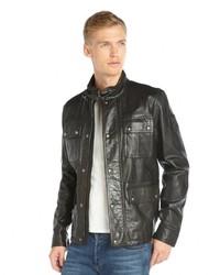 Черная кожаная полевая куртка