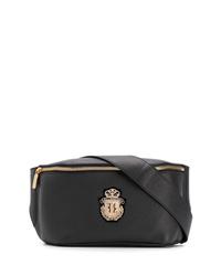 Черная кожаная поясная сумка