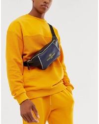 Мужская черная кожаная поясная сумка от ASOS DESIGN