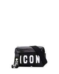 Мужская черная кожаная поясная сумка от DSQUARED2