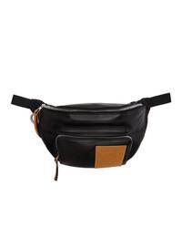 Мужская черная кожаная поясная сумка от Loewe