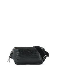 Мужская черная кожаная поясная сумка от Saint Laurent