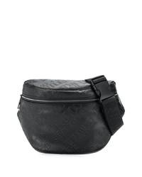 Мужская черная кожаная поясная сумка от VERSACE JEANS COUTURE