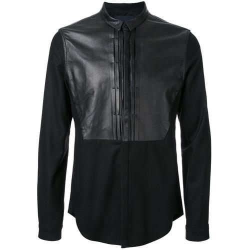 0f6523b875c ... Мужская черная кожаная рубашка с длинным рукавом от Juun.