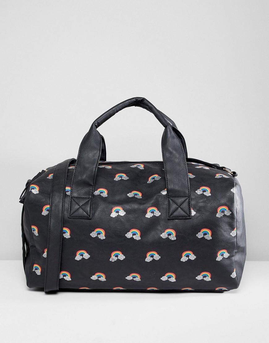 c0e0b405 ... Женская черная кожаная спортивная сумка с принтом от Oh My Gosh  Accessories