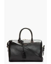 Черная кожаная спортивная сумка