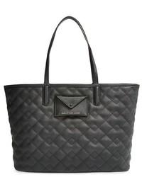 Черная кожаная стеганая большая сумка