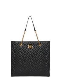 Черная кожаная стеганая большая сумка от Gucci