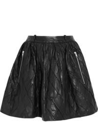 Черная кожаная стеганая короткая юбка-солнце от Preen Line