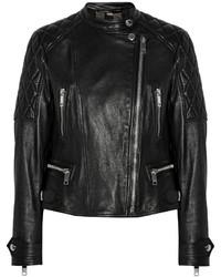 Женская черная кожаная стеганая косуха от Burberry