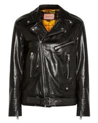 Женская черная кожаная стеганая косуха от Gucci