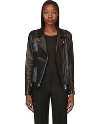 Женская черная кожаная стеганая косуха от Maison Margiela