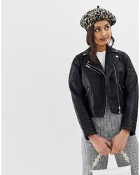 Женская черная кожаная стеганая косуха от Miss Selfridge