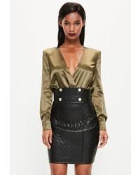 Женская черная кожаная стеганая мини-юбка от Missguided
