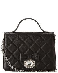 Черная кожаная стеганая сумка-саквояж