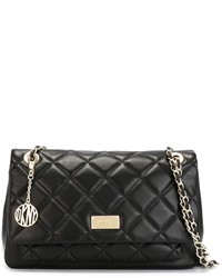 Женская черная кожаная стеганая сумка-саквояж от DKNY