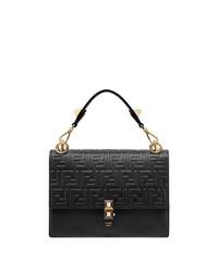 Черная кожаная стеганая сумка-саквояж от Fendi