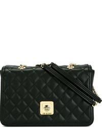 Женская черная кожаная стеганая сумка-саквояж от Love Moschino