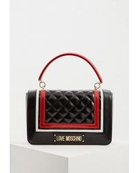 Черная кожаная стеганая сумка-саквояж от Love Moschino