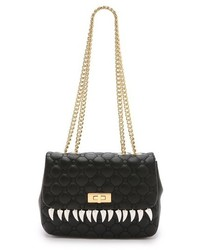 Женская черная кожаная стеганая сумка-саквояж от Moschino