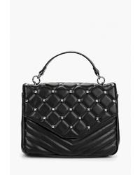 Черная кожаная стеганая сумка-саквояж от s.Oliver