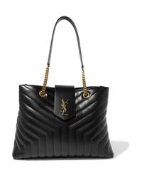 Черная кожаная стеганая сумка-саквояж от Saint Laurent