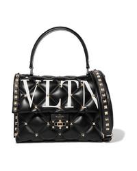 Черная кожаная стеганая сумка-саквояж от Valentino