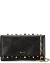 Женская черная кожаная стеганая сумка через плечо от Lanvin