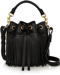 Черная кожаная сумка-мешок c бахромой