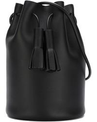 Женская черная кожаная сумка-мешок от Building Block