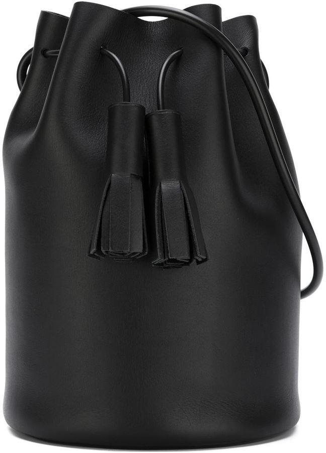 Черная кожаная сумка-мешок от Building Block