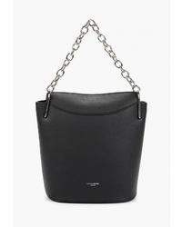 Черная кожаная сумка-мешок от David Jones