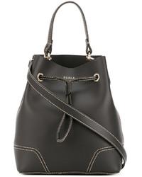 Женская черная кожаная сумка-мешок от Furla