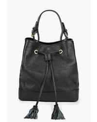 Черная кожаная сумка-мешок от LAMANIA