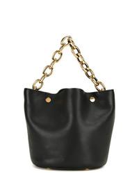 Женская черная кожаная сумка-мешок от Marni